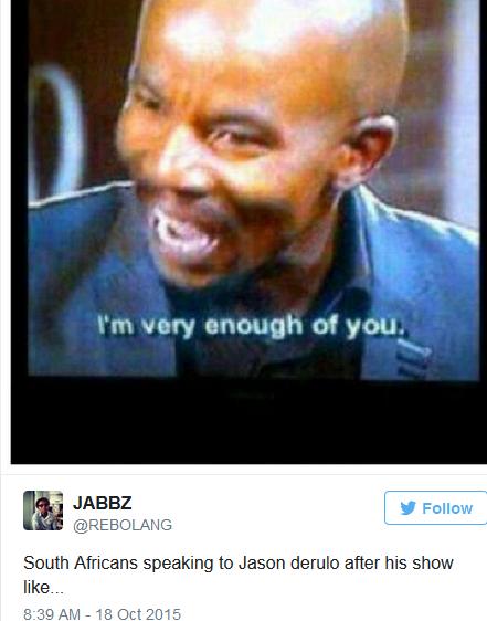 Jason Derulo asks South Africans if they speak English.