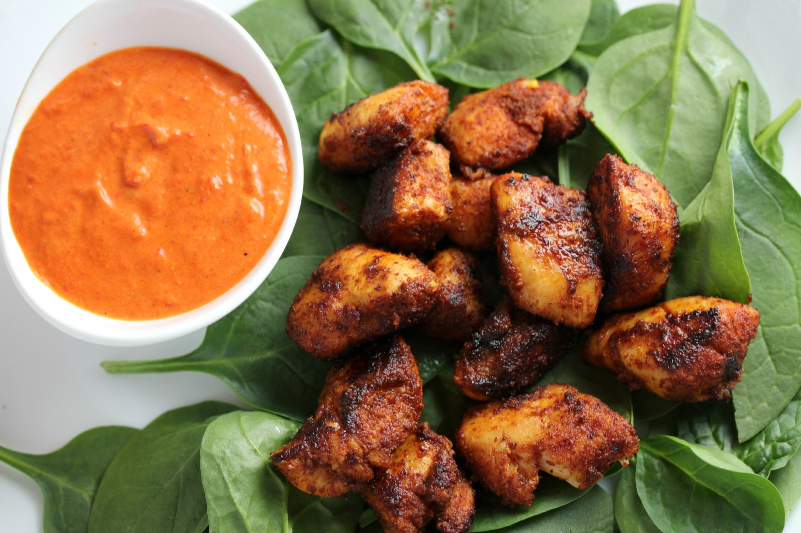 Sweet & Smoky Chicken Bites with Roasted Red Pepper Goat Cheese ...