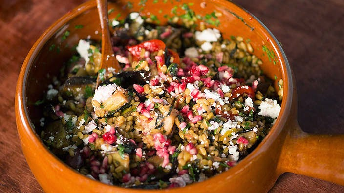 Freekeh Salad With Pomegranate Seeds And Molasses Recipe