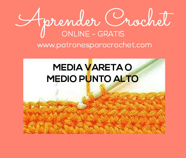 Aprende a tejer medio punto alto o media vareta con ganchillo tutorial