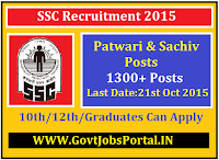 SSC Patwari Recruitment 2015