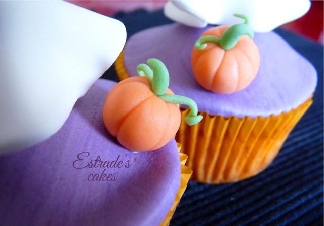 cupcakes de Halloween con fondant - calabaza