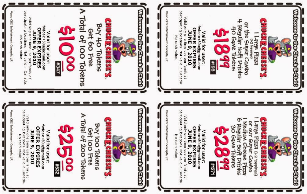 Chuck e cheese discount coupons online