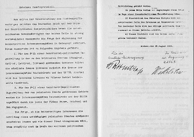Molotov-Ribbentrop Pact August 1939 document