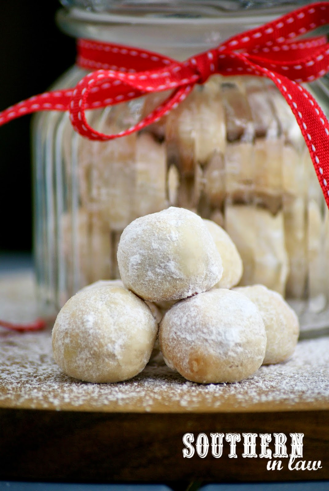 Low Fat Snowball Cookies Recipe - low fat, low sugar, gluten free, egg free, healthy - Christmas Cookie Gift Ideas in a Jar