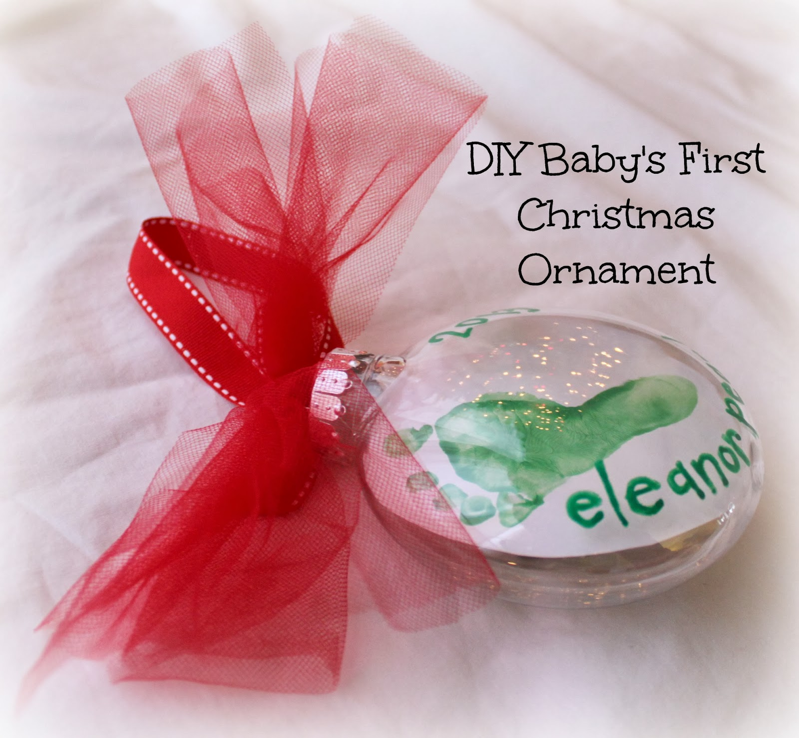 DIY Baby\'s First Christmas Footprint Ornament {For Under $2} - Bare ...