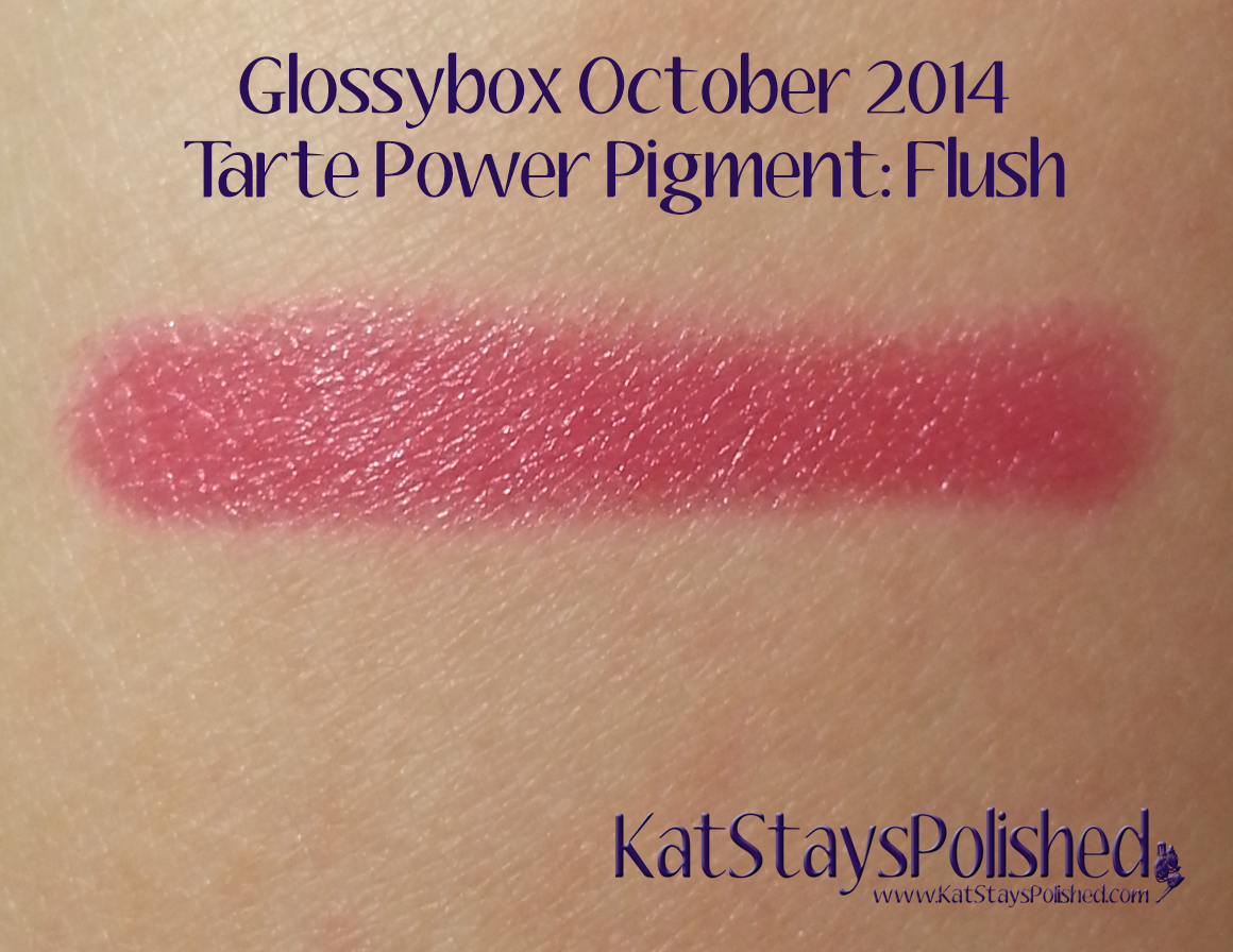 Glossybox October 2014 - Tarte Cosmetics: Power Pigment in Flush | Kat Stays Polished