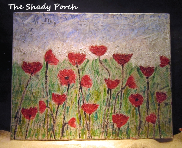 Art - A Field of Poppies with newsprint and crayons by The Shady Porch
