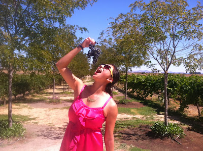 Jenn eating grapes at Viansa Winery