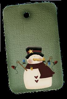Primitive Snowman Hangtag Green