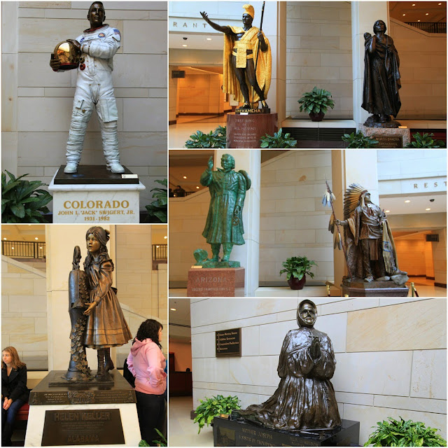 Admiring at statues while waiting for the tour at the Visitor Center in United States Capitol in Washington DC, USA