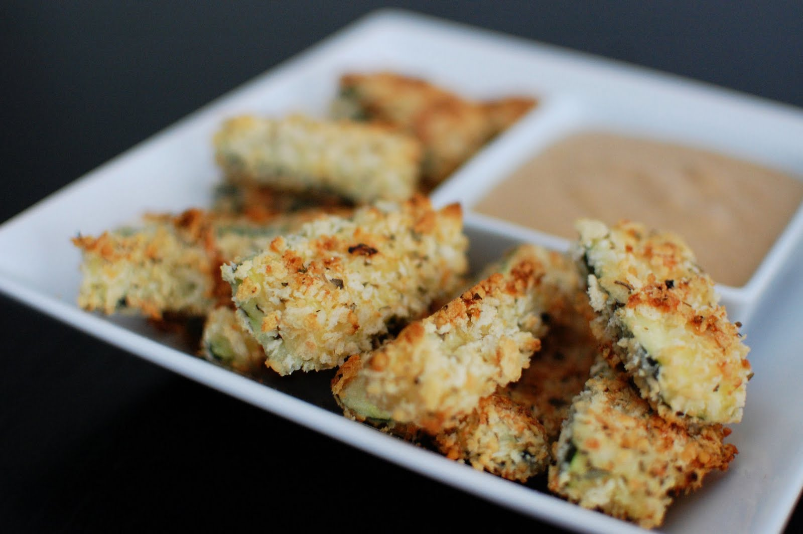 Baked Zucchini Sticks with Caramelized Onion Dipping Sauce | Beantown ...