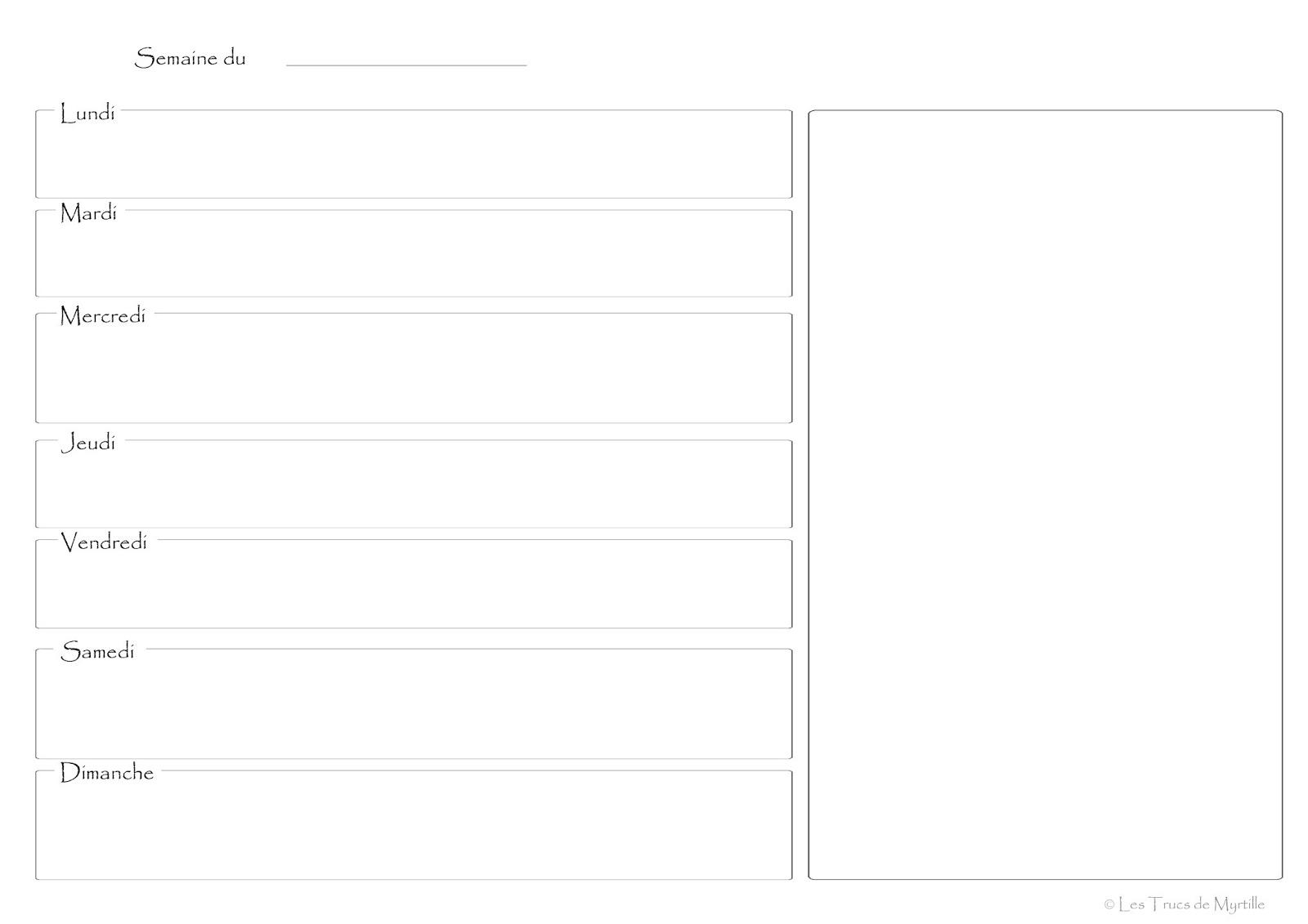 Bien connu La Cuisine de Myrtille: Planifier ses menus (plannings vierges à  OS37