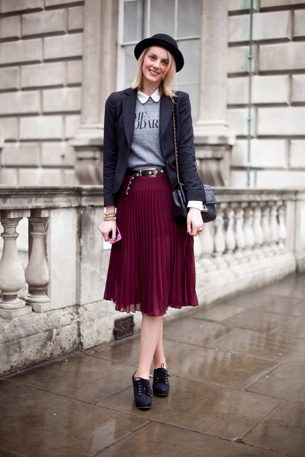 sheer pleated skirt lfw street style