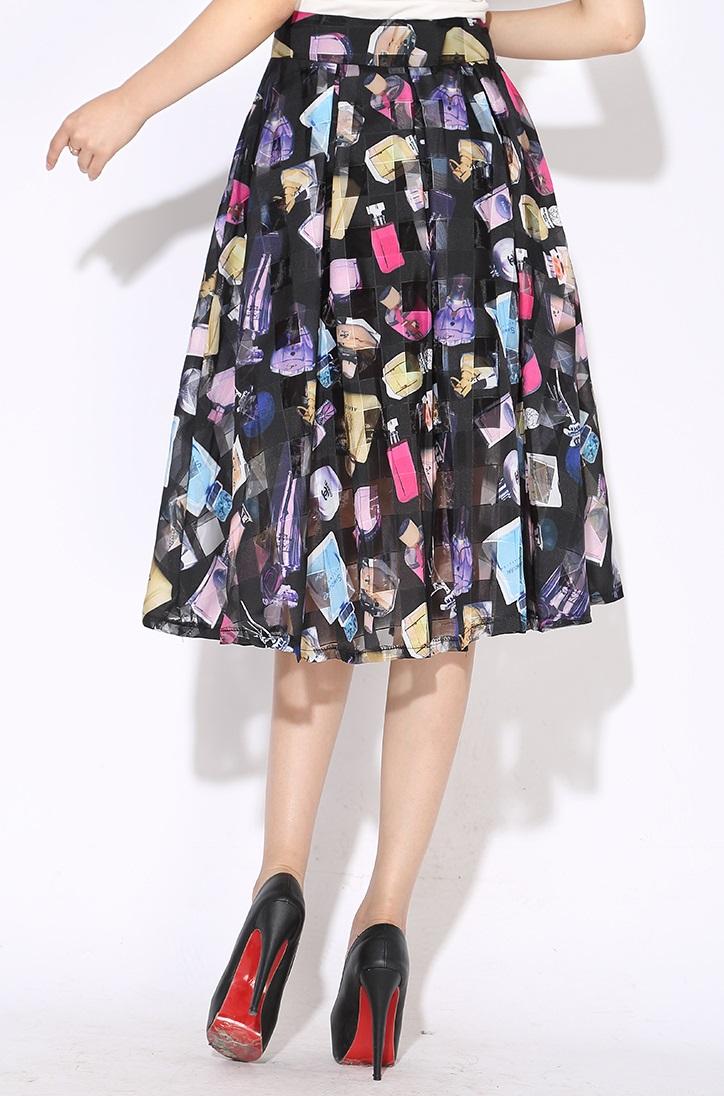 Perfume Bottles Chiffon Organza Flare Past Knee Length Skirt