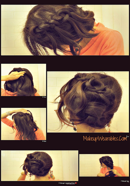 PicMonkey+Collage35 How To KNOTTED WATERFALL BRAID WITH CURLS  | Cute Hair Tutorial Video