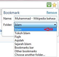 menambahkan link di folder islam di google chrome