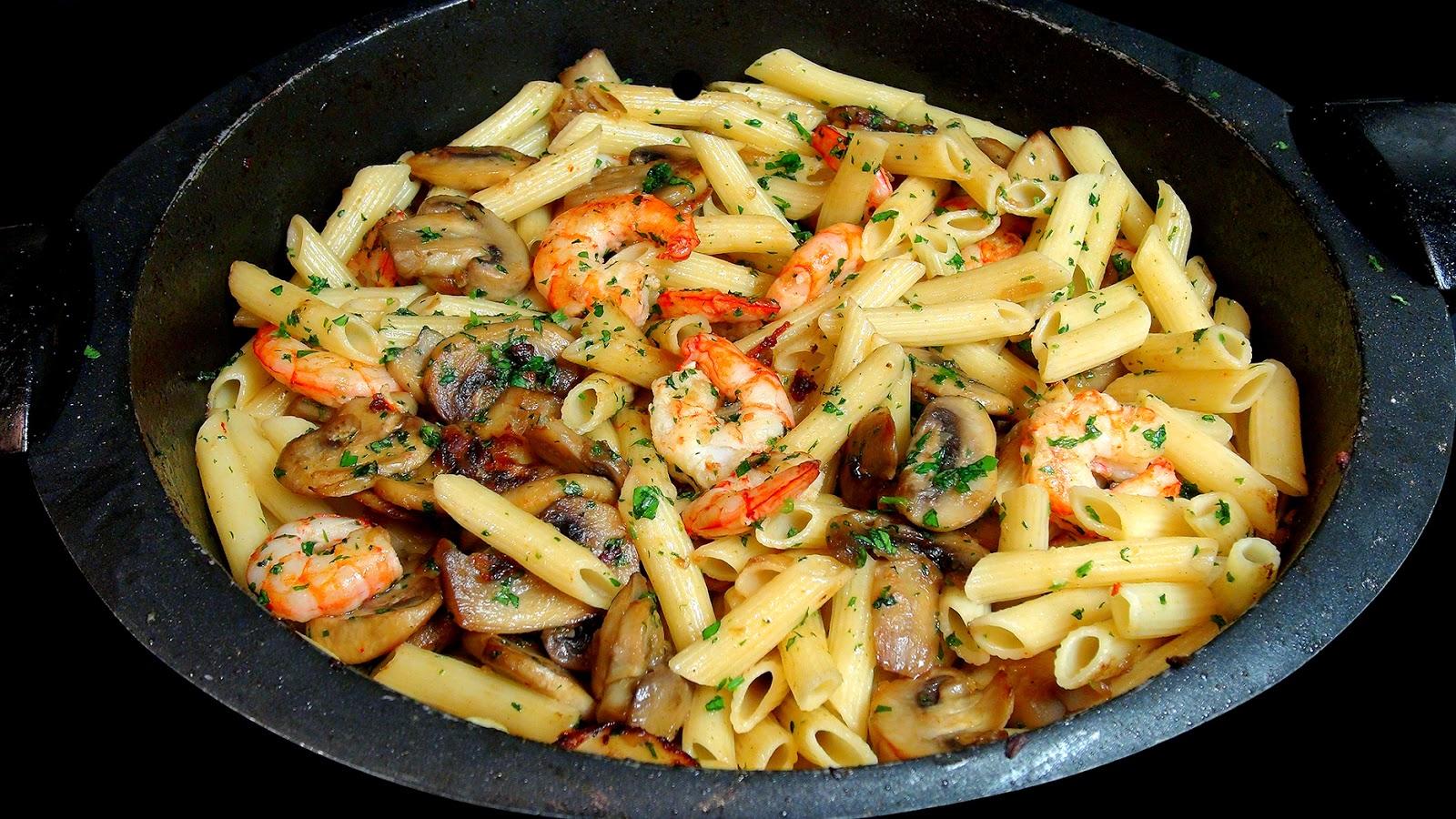 Cocinar para los amigos macarrones con gambas y champi ones - Cocinar para los amigos ...