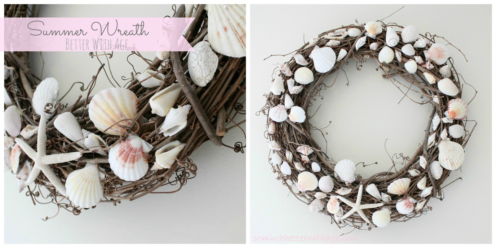 Ssom guest shell wreath better with age southern for Diy summer wreath