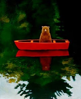 funny bear in a red canoe on a lake illustration by Joyce Koskenmaki