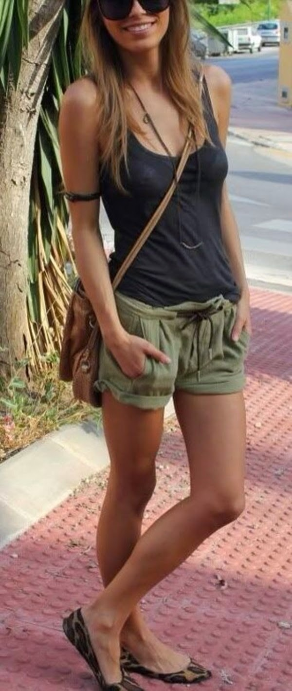 Khaki Shorts With Black Singlet | High fashion