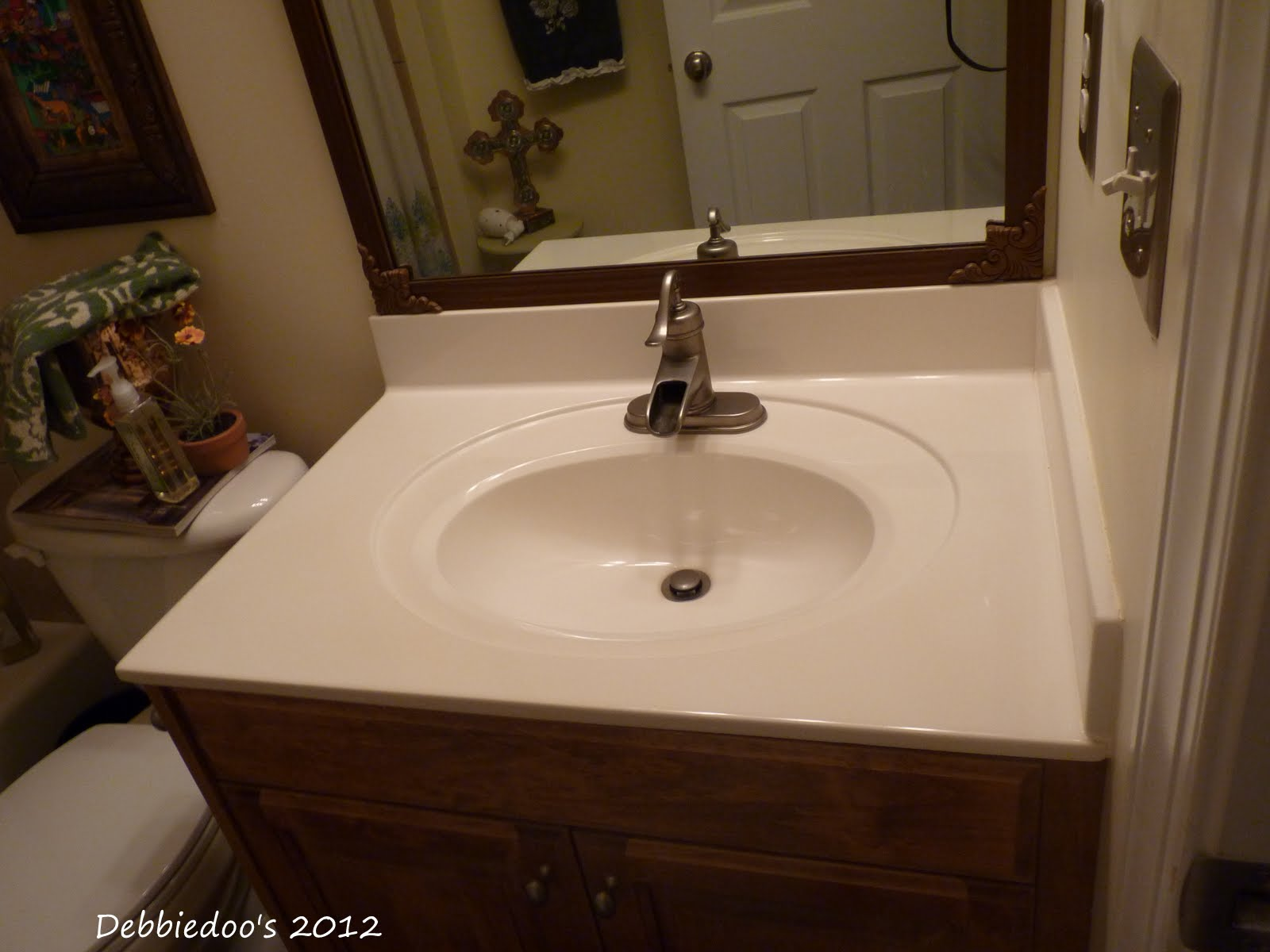 How to paint bathroom countertops - Before Cultured Marble Counter Tops