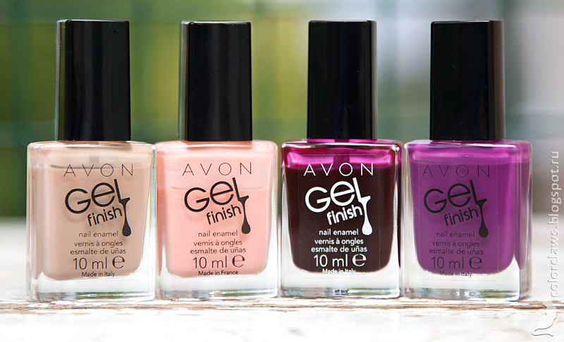 Avon Gel Finish Barely There, Dazzle Pink, Wine and Dine Me, Purplicious