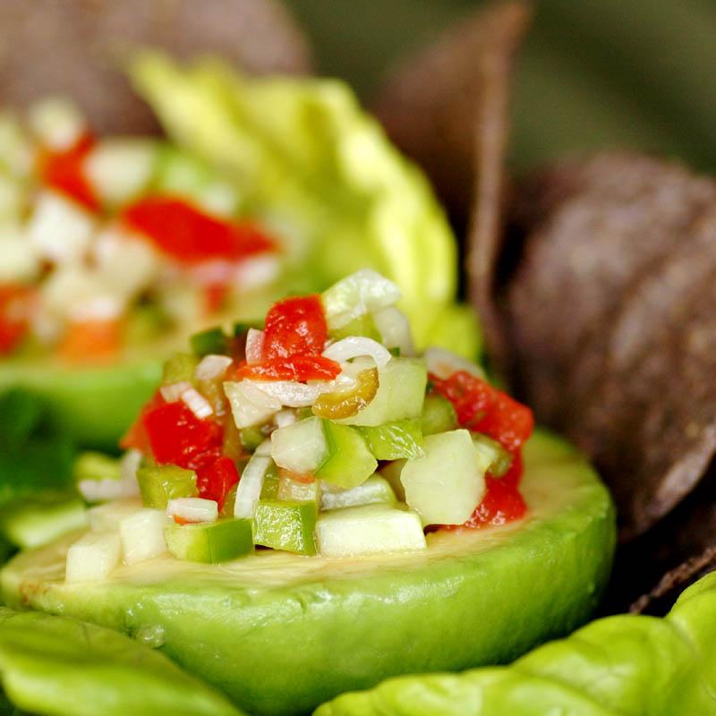 Gazpacho Filled Avocado Salad
