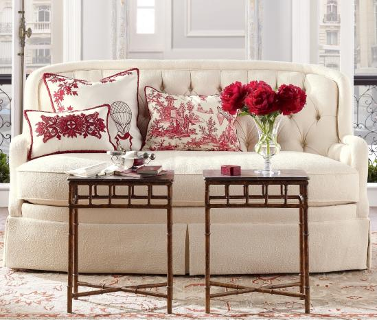 ... white sofa red and white pierre frey toile de jouy pillows red peonies