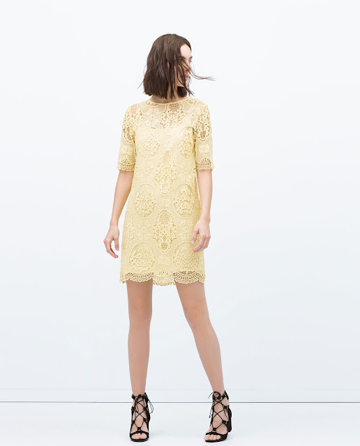 zara lace dress, zara yellow lace dress, zara lemon lace dress, lemon lace dress,