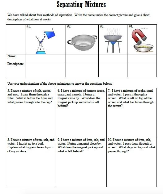 Znalezione obrazy dla zapytania separation of mixtures worksheet ...
