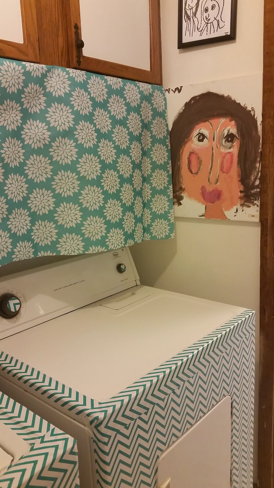 Laundry Room Makeover with Contact paper from MommysPinkieLipgloss.blogspot.com