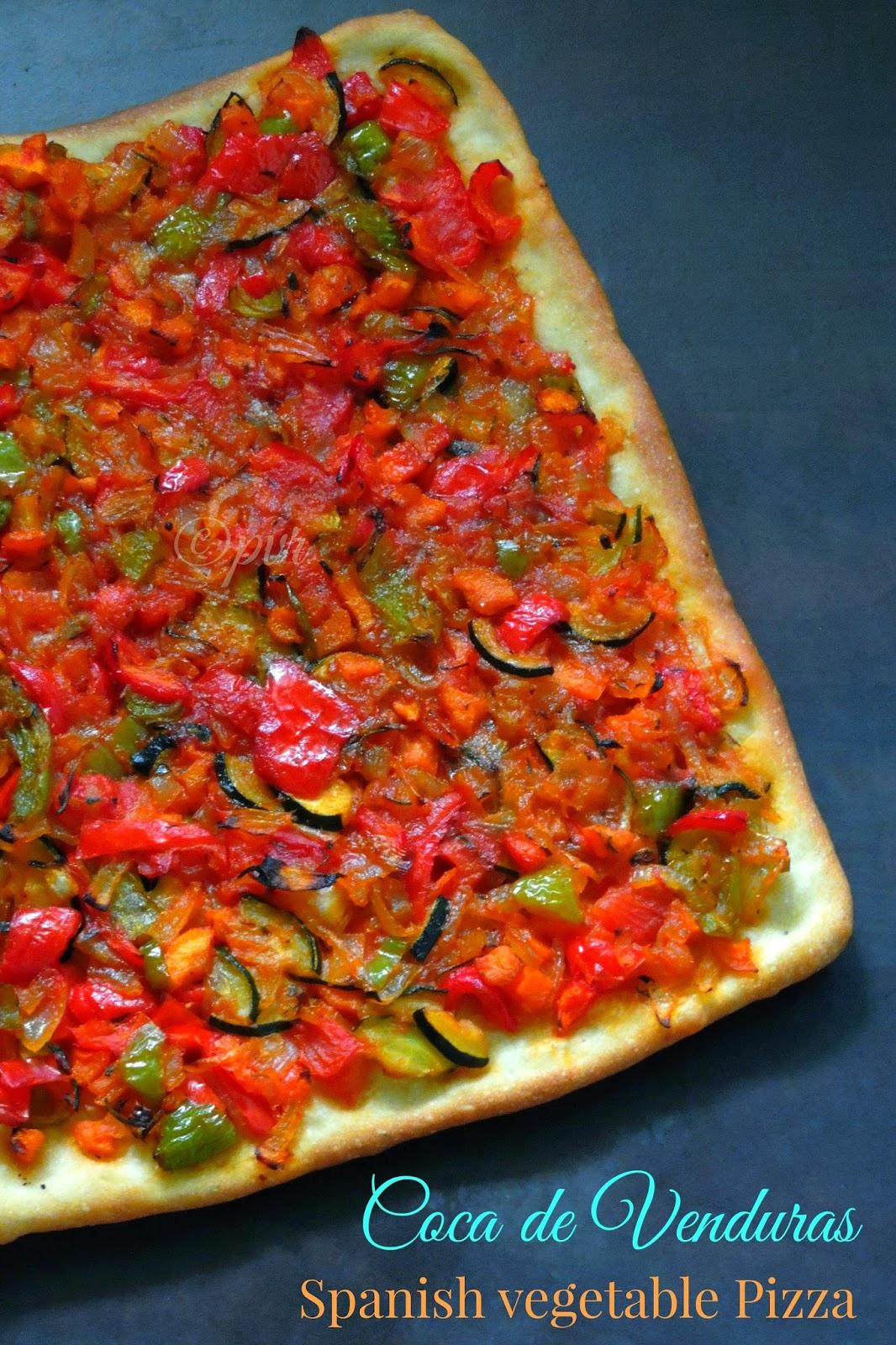 Vegan spanish pizza, coca de venduras, coca vegetable coca catalan