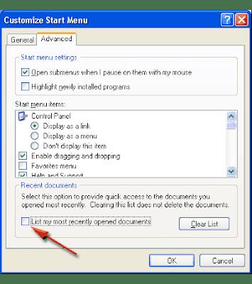 disable recent document windows xp