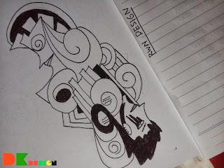 Dua Wajah 2 Karakter Graffiti Monster