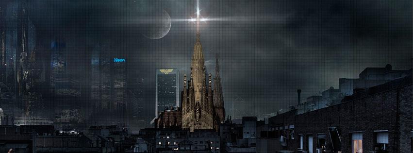 Sagrada família en una Barcelona futurista