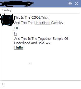 SEND BOLD AND UNDERLINED TEXT IN FACEBOOK CHAT