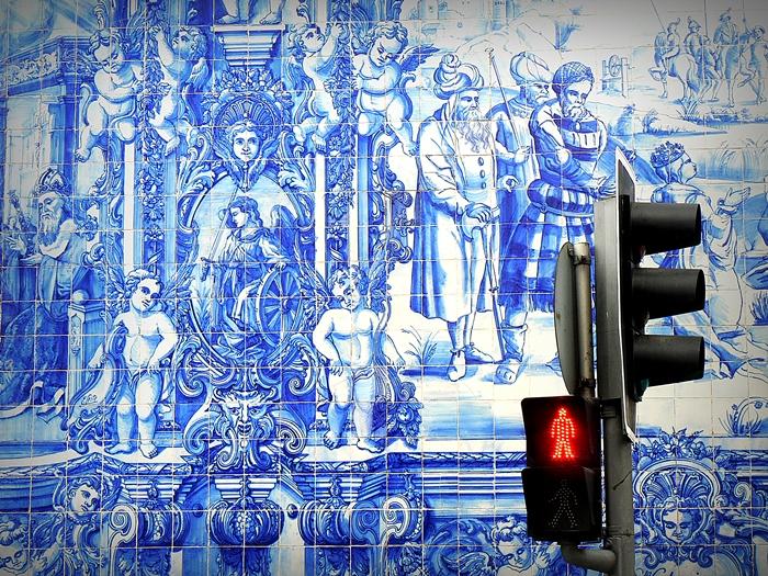 azulejo, igreja, Porto, semáforo