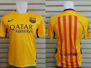 gambar detail dan jual online baju bola musim depan liga spanyol Jersey Official Barcelona away terbaru musim 2015/2016 Kualitas GO di enkosa sport