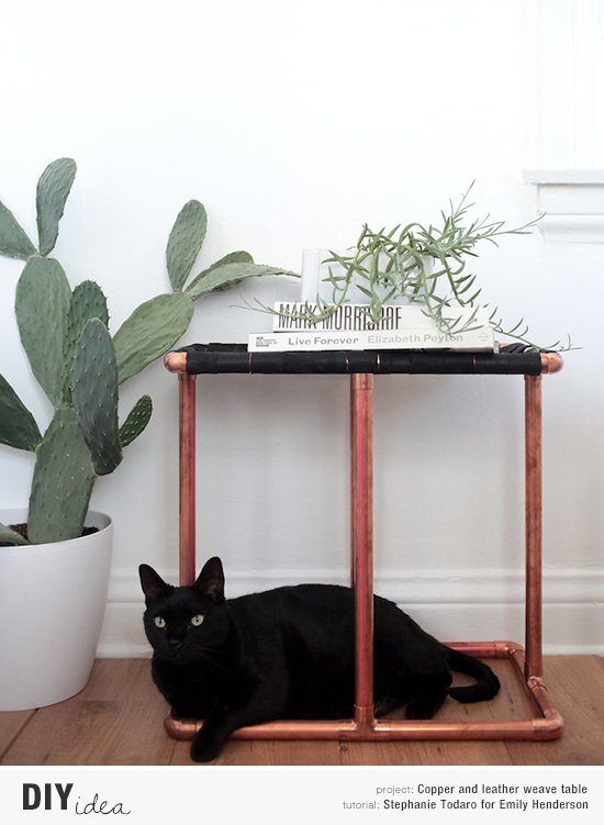 How to diy a copper and leather weave side table tutorial by Stephanie Todaro for Emily Henderson. Photo by Tessa Neustadt.
