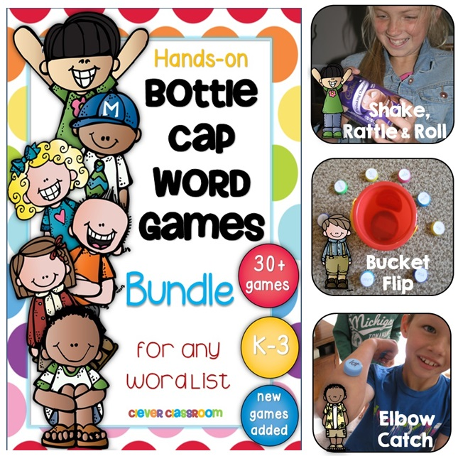 Clever Classroom's Bottle Cap Word Games for any Word List