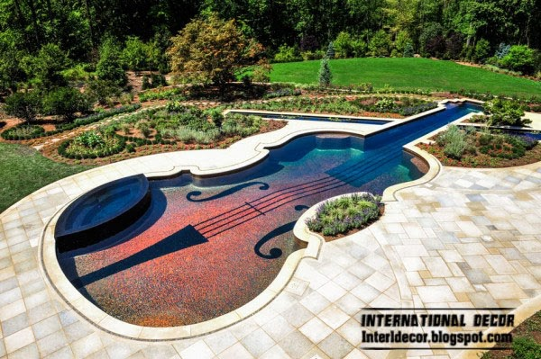 Outdoor Swimming Pool in the form of a Stradivarius violin