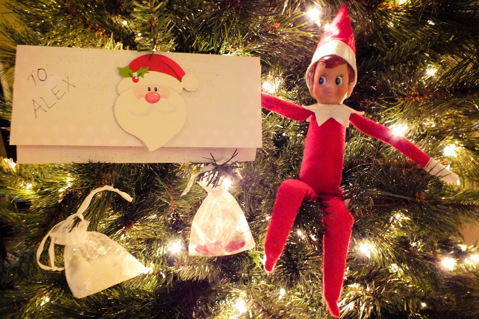 i know for some people their elf on a shelf returns on dec 1 but at our house mr jingles returns when our tree goes up