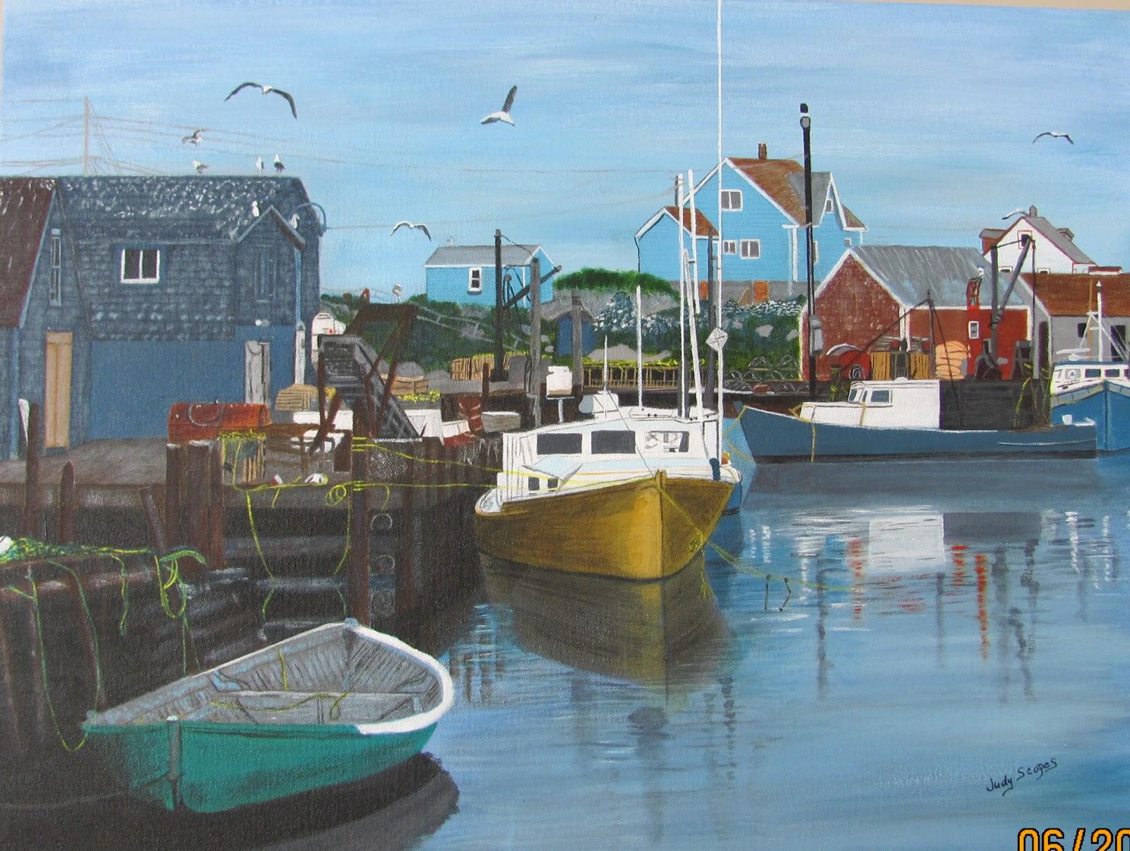 Judy scopes painting gallery nova scotia fishing village for Nova scotia fishing