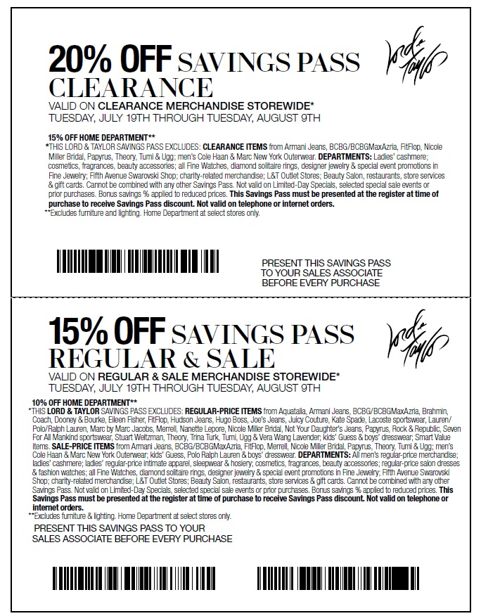 Lord and Taylor also has regular sales on dresses, accessories, handbags, shoes and more. Look out for buy one, get one deals at Lord and Taylor as well. The Lord and Taylor sale section offers tons of great discounts, and many Lord and Taylor coupon codes can be used on top of discounted prices.