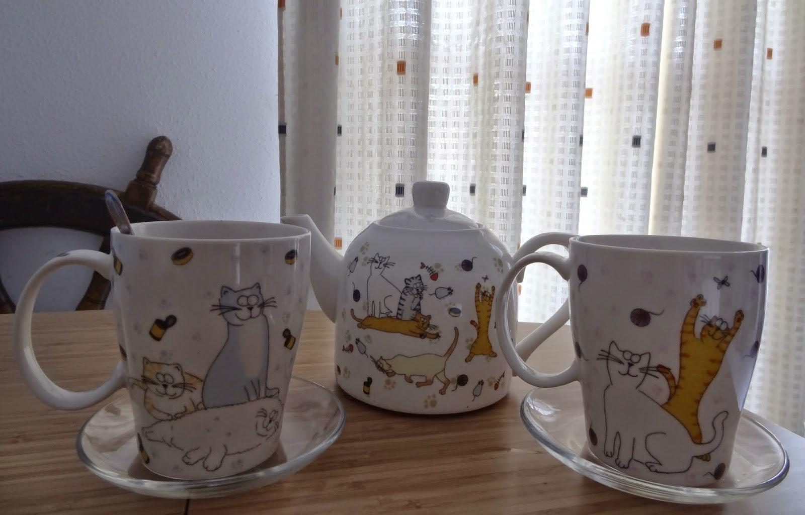 gatos juego de té