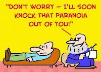 Cartum com psicólogo tratando paranoia.