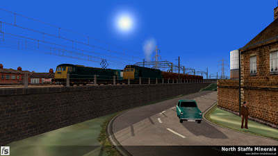 Fastline Simulation - North Staffs Minerals: Street view of Glebe Street junction as an electrically hauled down express overtakes a local trip hauled by a class 25