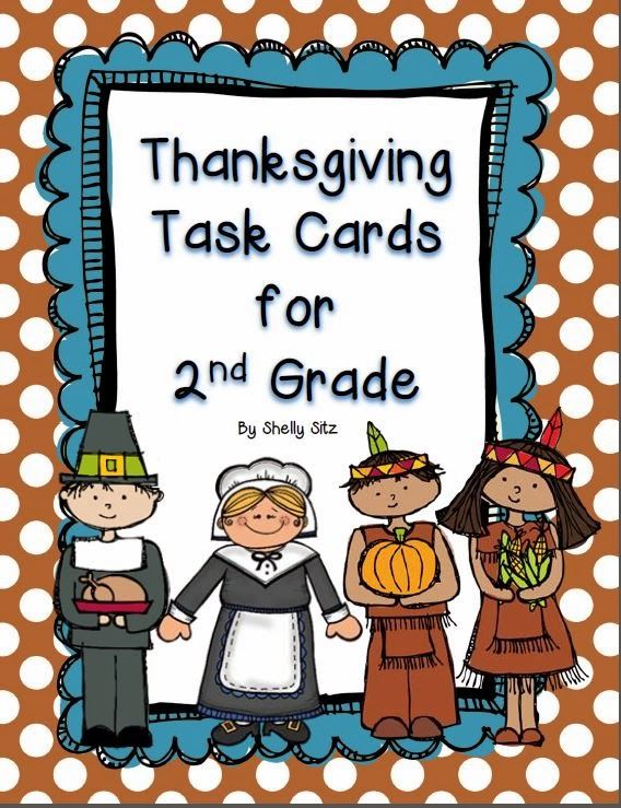 Smiling and Shining in Second Grade: Thanksgiving Task Cards Freebie