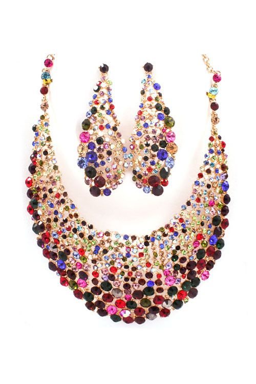 Magnolia Statement Necklace Set in Enchanting Crystal